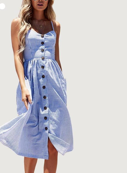 Long Boho Beach Pockets Sundress