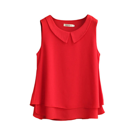 Cotton Sleeveless Tank Tops Chiffon Blouses