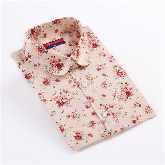 Cotton Long Sleeve Vintage Floral Shirts