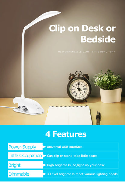 USB Desk Lamp with Clip