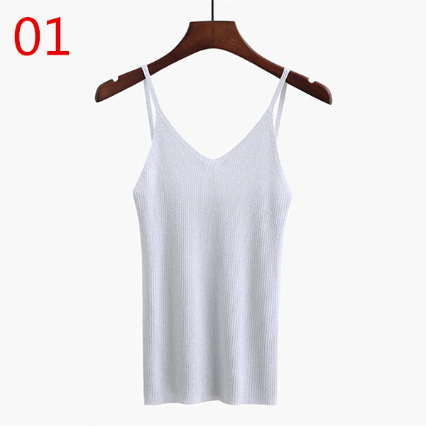 Knitted Tank Tops Gold Thread Top Vest Camisole