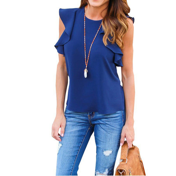 Cotton Sleeveless Solid Chiffon Tops Blouses