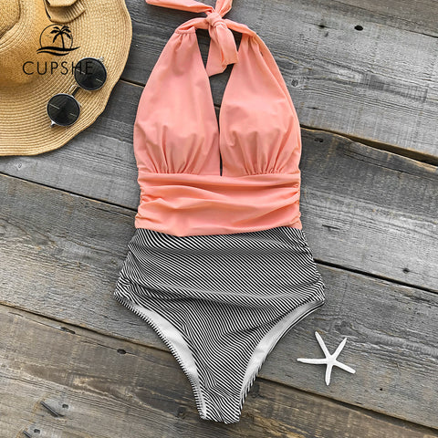 Cupshe V Neck Swimsuit Stripe One-piece