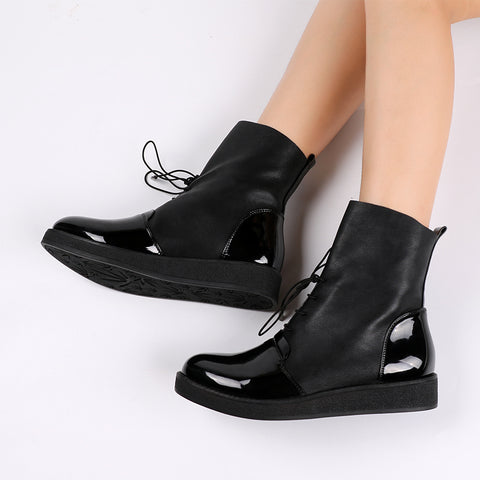 Women Ankle Boots Patent PU Leather Spring Autumn