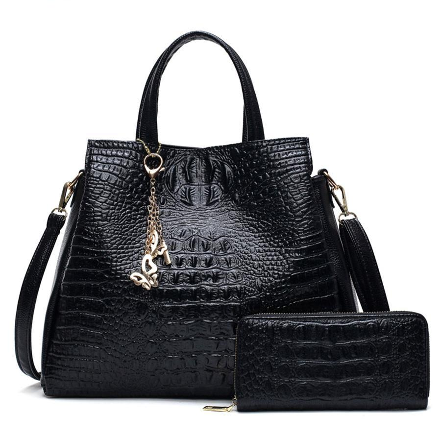 Two Sets  Women Purse and Handbags Crocodile Pattern