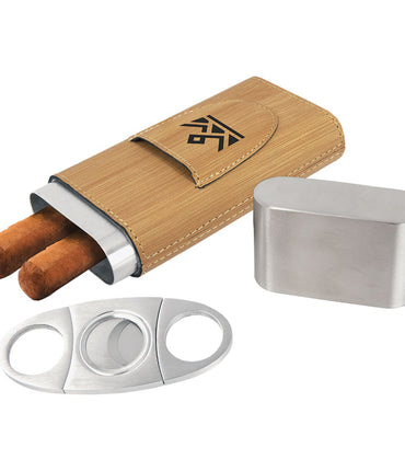 Bamboo Laserable Leatherette Cigar Case with Cutter
