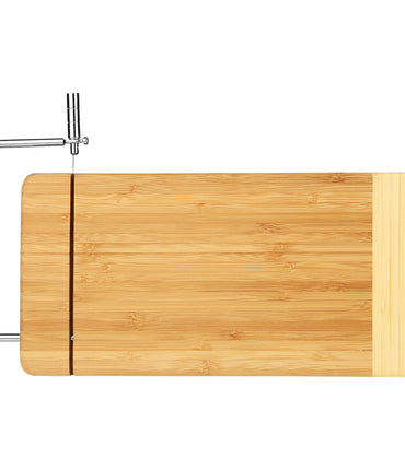 Bamboo Rectangle Cutting Board with Metal Cheese Cutter