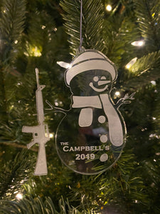 Custom Snowman Gun Ornament