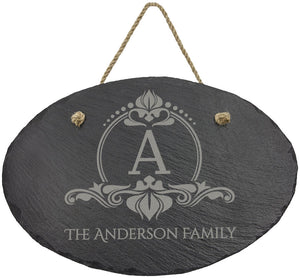 Oval Slate Decor with Hanger String