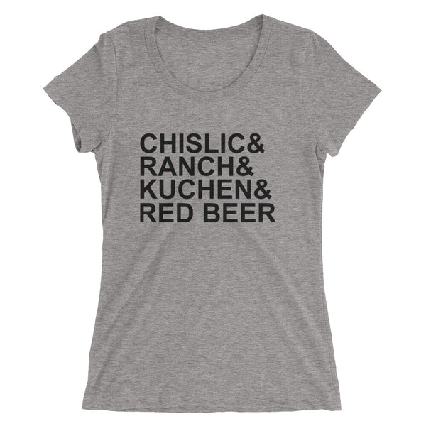 Ladies' short sleeve t-shirt - It's Chislic-In' Good - Black Text