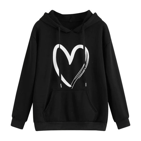 Women Warm Casual Hoodies, Long Sleeve Print Strappy Sweatshirt Tops Hoodies