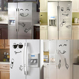 New 4 Styles Smile Face Wall Sticker Happy Delicious Face Fridge Stickers Yummy for Food Decoration