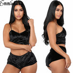 Women 2pcs Velvet Sleepwear Sexy Spaghetti Strap Velvet Shorts Pajama Set Ladies Sleepwear