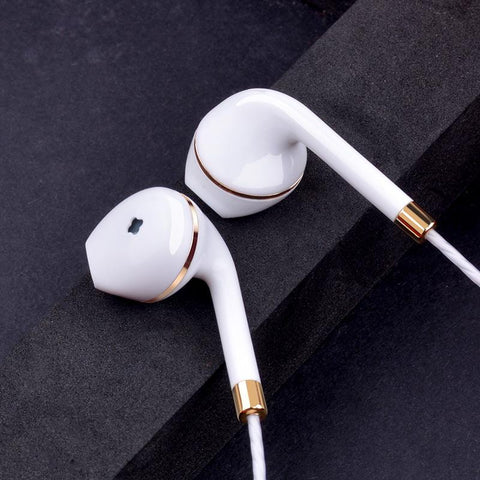 iPhone Style Ear Buds - Luxury Gold & White