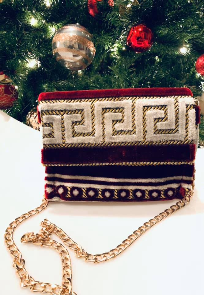 Greek meander handbag with gold chain straps