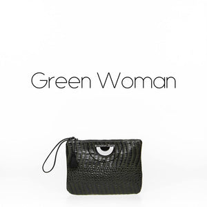 Green crocodile Clutch