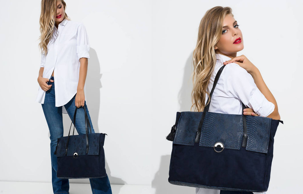 Blue Crocodile tote