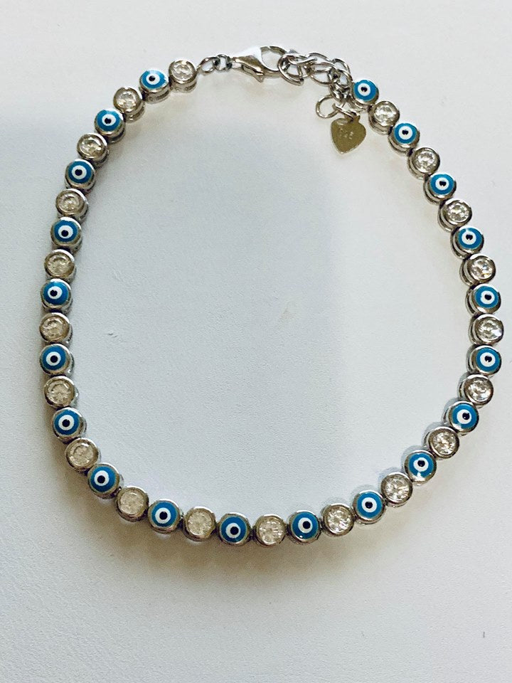 Sterling silver evil eye tennis bracelet