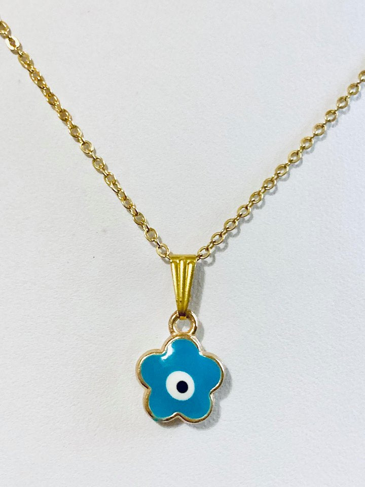 Gold plated evil eye necklace