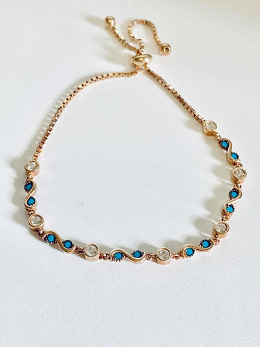 Rose gold plated evil eye bracelet