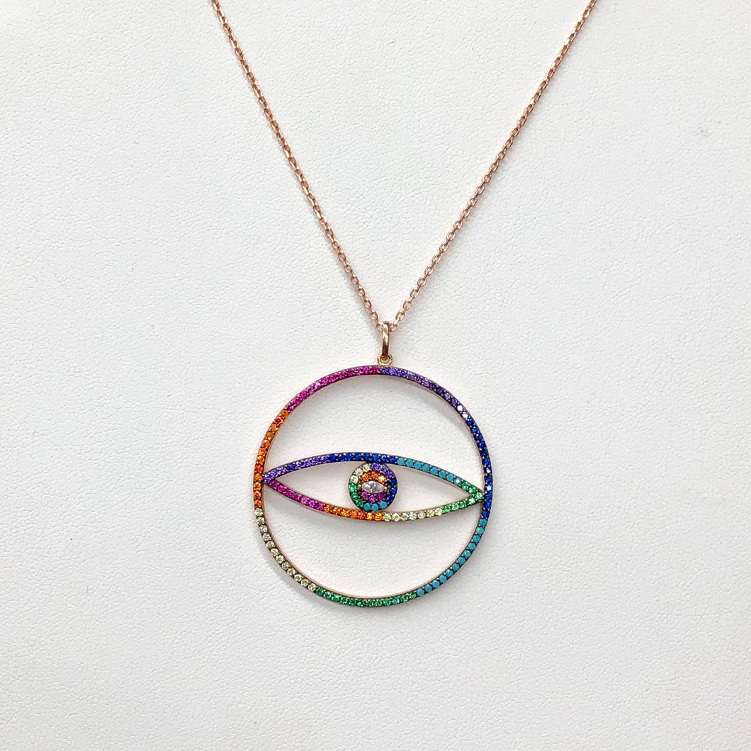 Colorful evil eye necklace