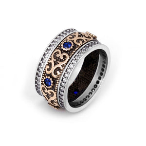 Two tone vintage ring with blue sapphire cz stones