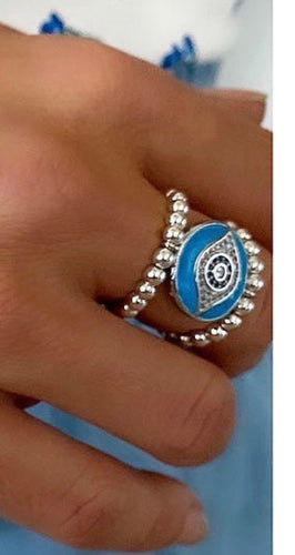 Silver with turquoise evil eye ring
