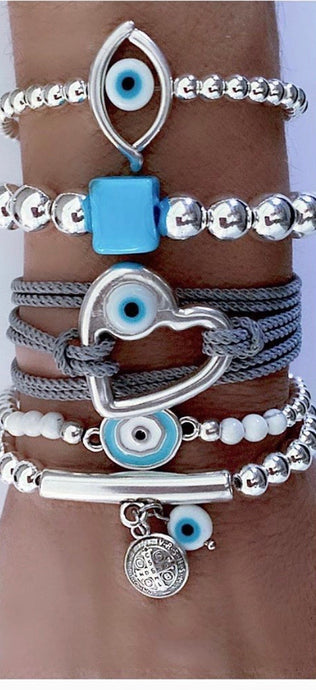 Silver stack with Aegean blue stones and charms