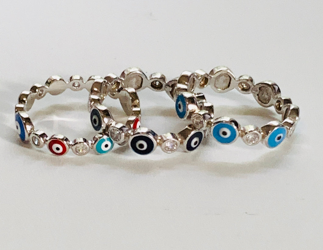 Evil eye eternity band