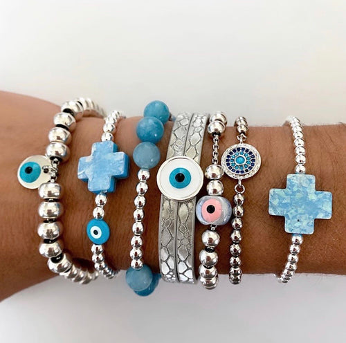 Blue stacking bracelets