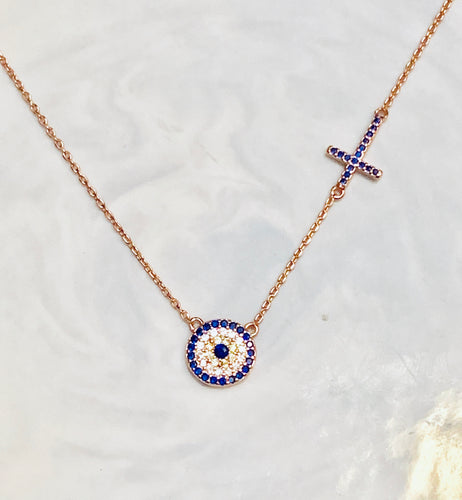 Evil eye with side cross necklace