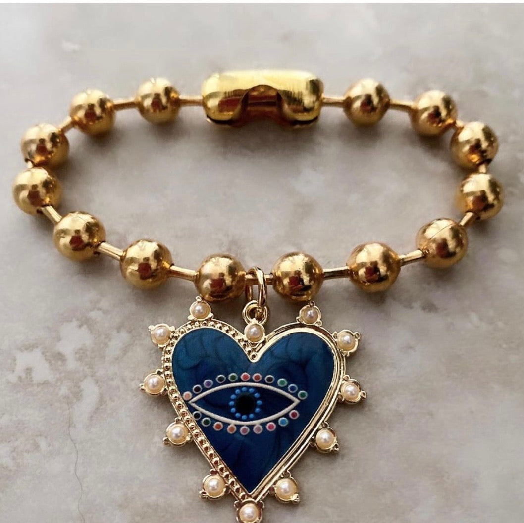 Evil eye blue heart bracelet