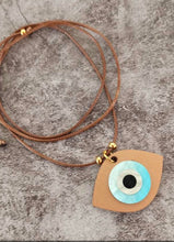 Load image into Gallery viewer, Evil eye necklace with wood blue eye charm