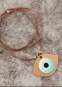 Evil eye necklace with wood blue eye charm