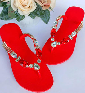 Red flip flops with crystals