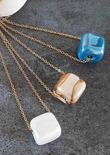 Stainless steel chain necklace with ceramic cube
