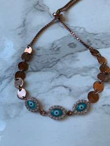 Rose gold with turquoise bracelet