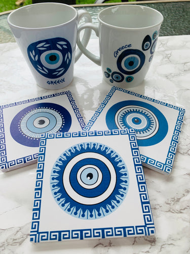 Ceramic evil eye coasters