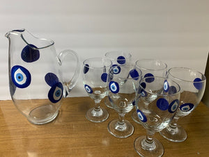 Evil eye pitcher with 6 glasses