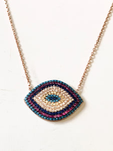 Purple /blue evil eye necklace
