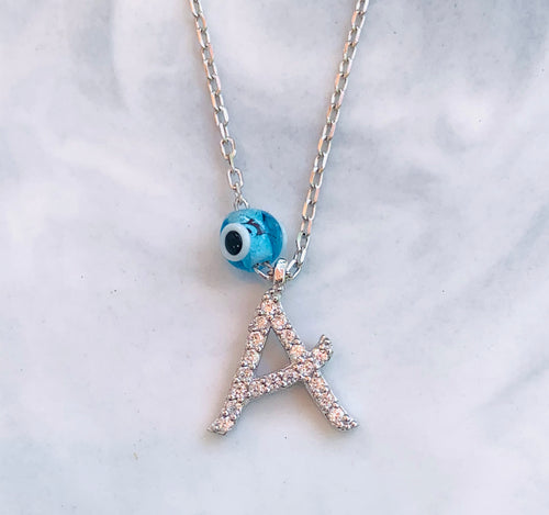 Initial with evil eye charm