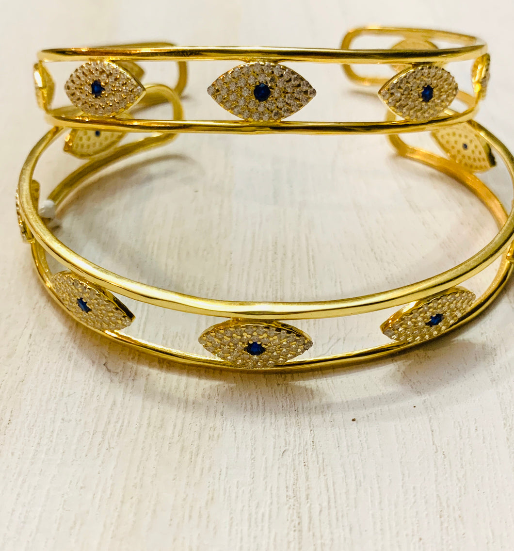 Gold plated open evil eye bangle