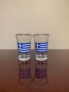Greek Flag or evil eye shot  glasses