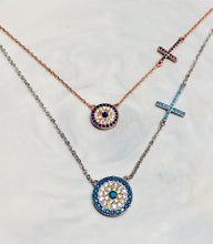 Load image into Gallery viewer, Evil eye with side cross necklace
