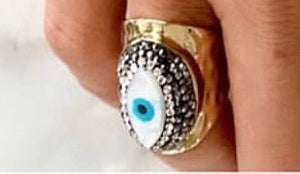 Gold plated evil eye ring