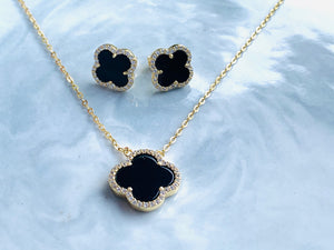 Sterling silver clover necklace and earring set