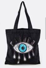 Load image into Gallery viewer, Evil eye canvas totes