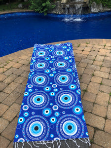 Evil eye beach towel