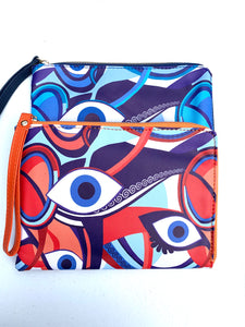 Evil eye clutch with make up Case