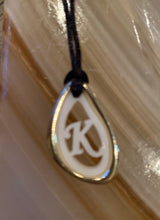 Load image into Gallery viewer, Initial necklace with adjustable cord chain
